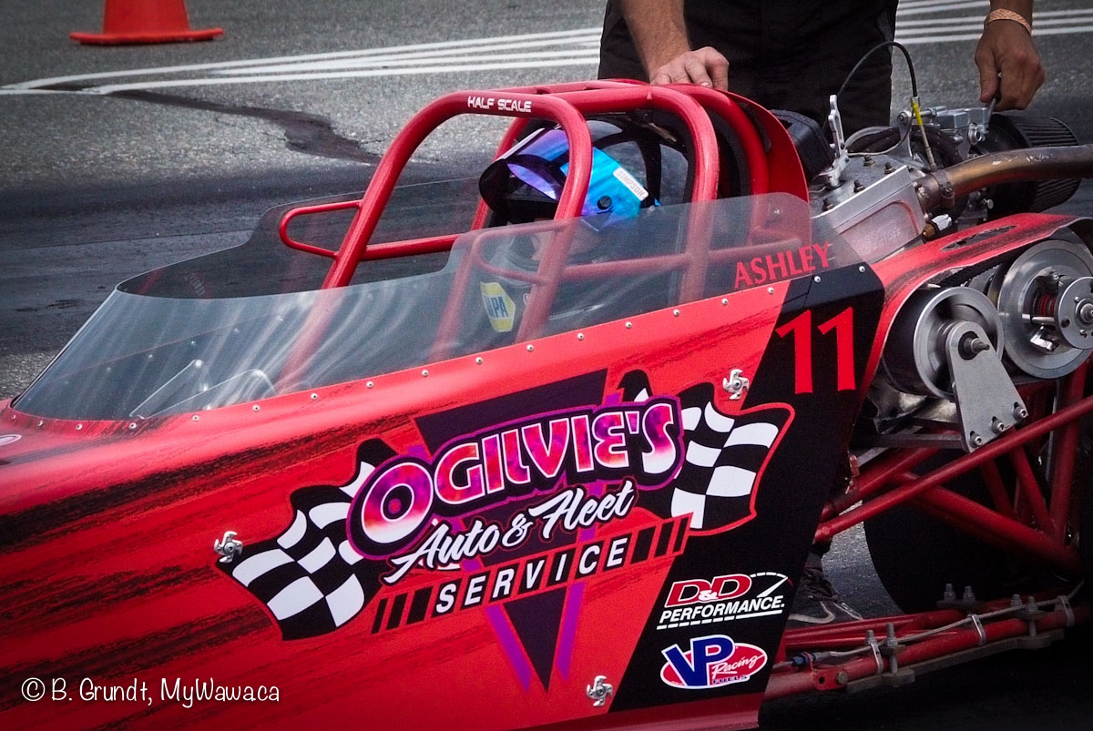 Ashley behind the wheel of her Junior Dragster.