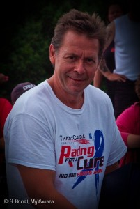 "Peter Moore, of TransCanada Chrysler wearing his ""Racing for a Cure."""