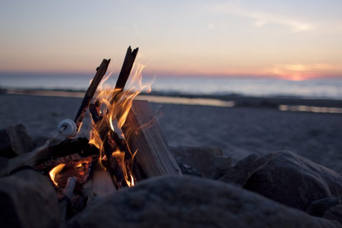 camp fire beach