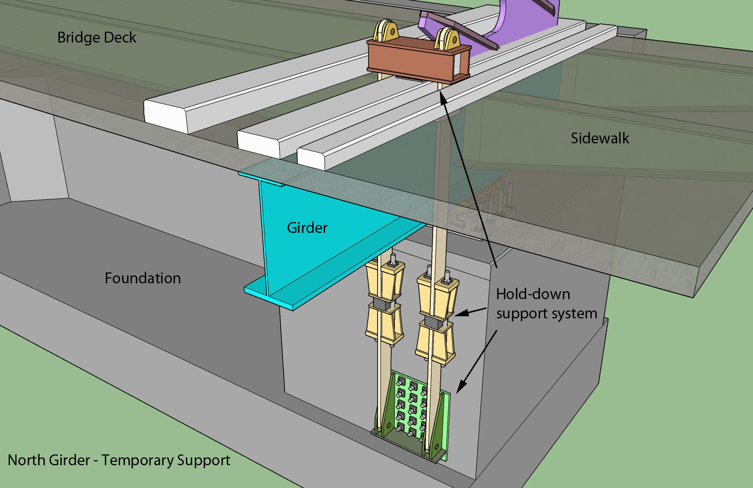 """""""Nouth Girder Temporary Support"""", graphic supplied by Ministry of Transport."""