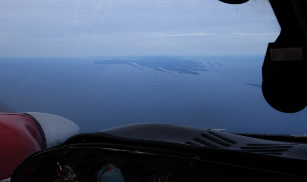 Isle Royale, In the centre of the photo is a freighter making it's way to Thunder Bay.