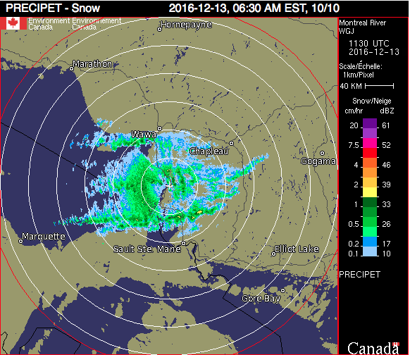 Montreal River Radar at 6:30 a.m.